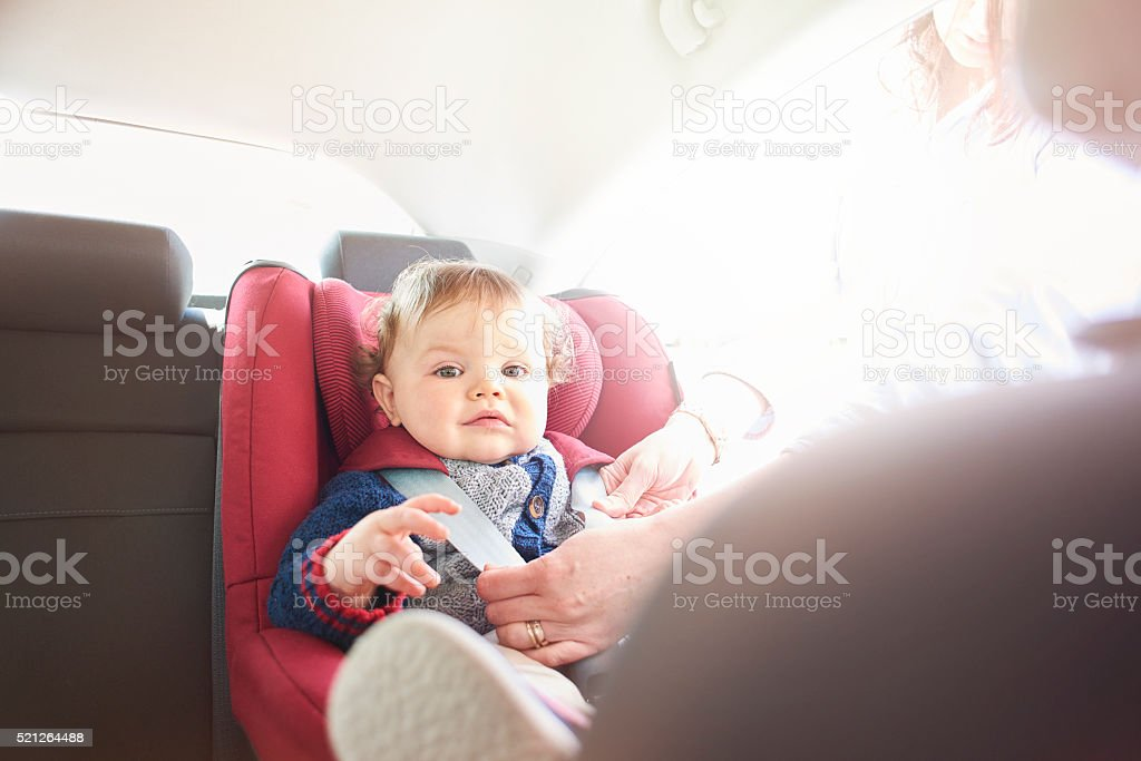 Baby boy being fastened in car seat stock photo