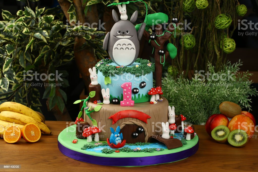 Fantastic Baby Boy Birthday Cake With Bunny Decoration Stock Photo Funny Birthday Cards Online Elaedamsfinfo
