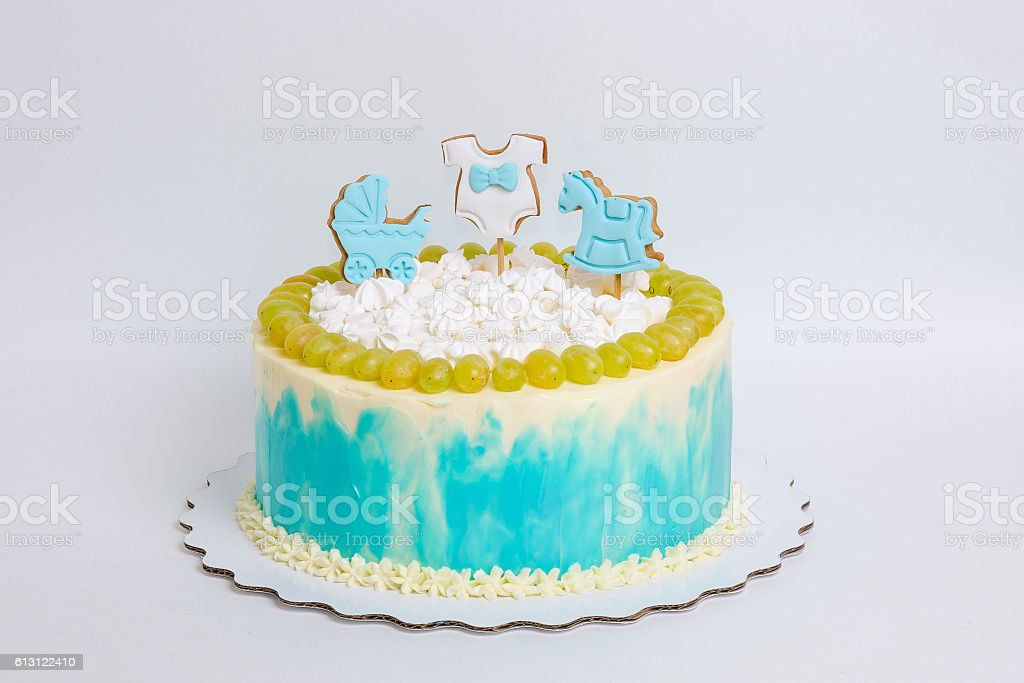 Pleasing Baby Boy Birthday Cake With Gingerbread And Grapes Stock Photo Funny Birthday Cards Online Alyptdamsfinfo