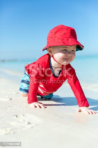 Baby Boy Crawling in the Sand on Tropical Beach, Cayo Coco, Cuba