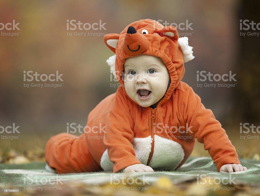 baby boy 糊のフォックスのコスチューム ストックフォト 写真素材
