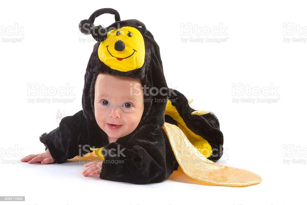 baby boy dressed up like bee stock photo