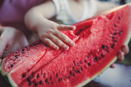 Baby Boy Eating Fresh Watermelon