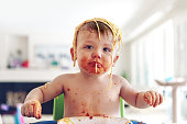 Baby Boy Eating Spaghetti