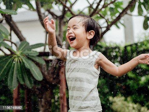 Happy baby boy plays with Sprinkler in garden.