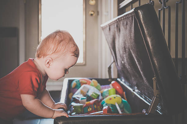 Baby Boy Exploring and Looking Inside Toy Box – Foto