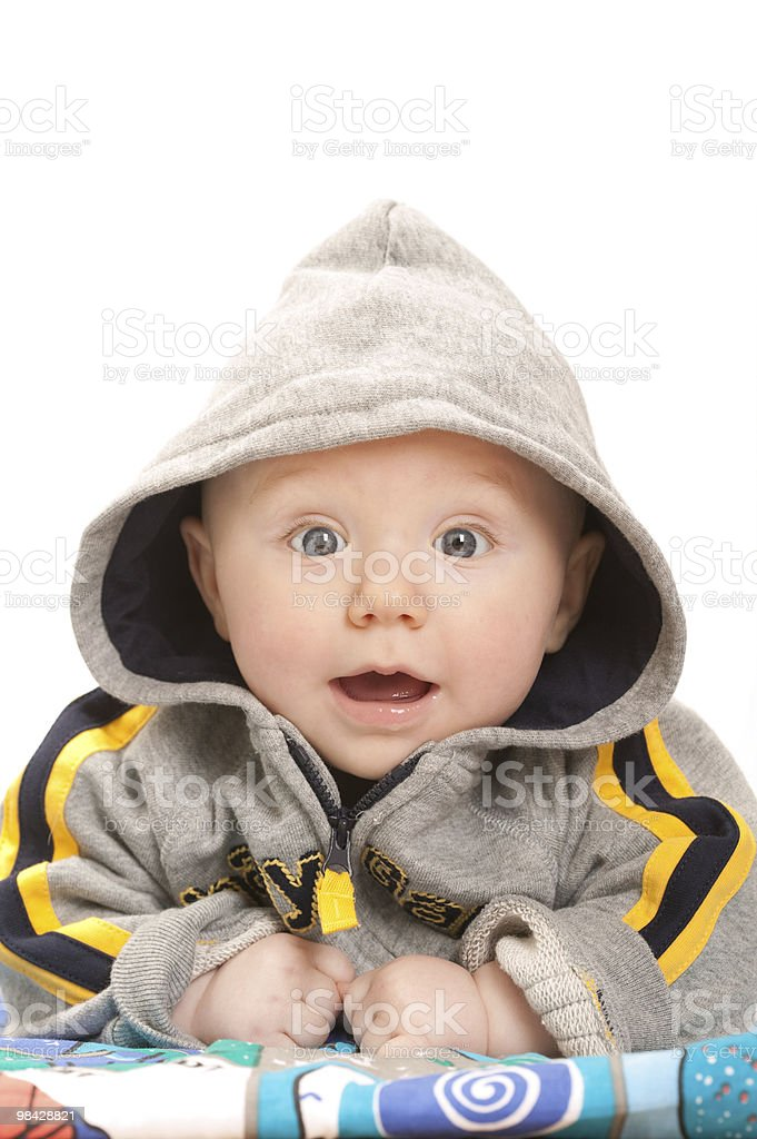 Baby boy in a hooded top royalty-free stock photo