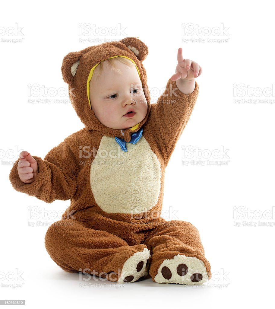 Baby boy in bear costume stock photo