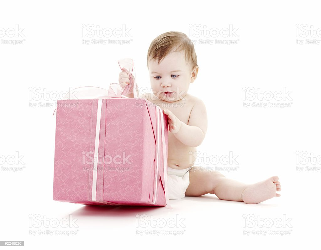 baby boy in diaper with big gift box #2 royalty-free stock photo