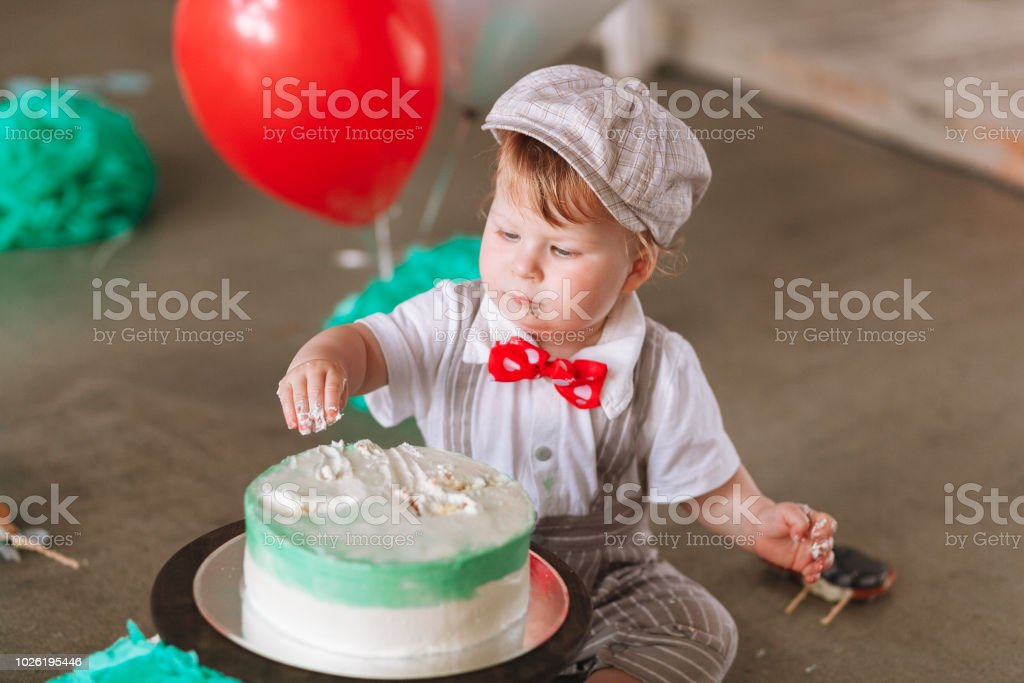 Magnificent Baby Boy In Hat Eating First Birthday Cake Closeup Portrait Stock Personalised Birthday Cards Petedlily Jamesorg