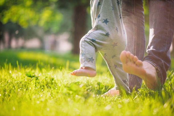 Baby boy is happy with his first steps supported by his father on a summer meadow