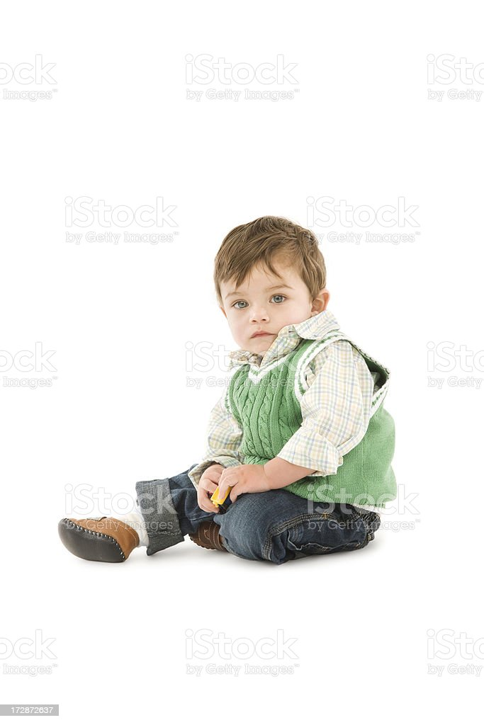 Baby Boy on White stock photo