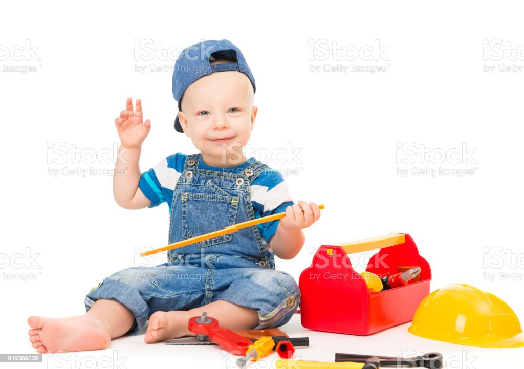 fcc5c500a71 Baby Boy Playing Tools Toys Child With Construction Tool Box White ...