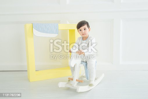112301234 istock photo Baby boy playing with a rocking horse on grey background 1131762236