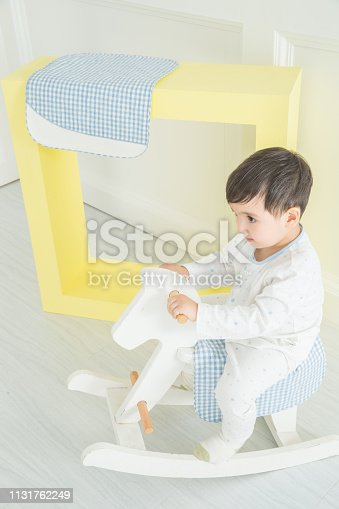 112301234 istock photo Baby boy playing with a rocking horse on grey background 1131762249