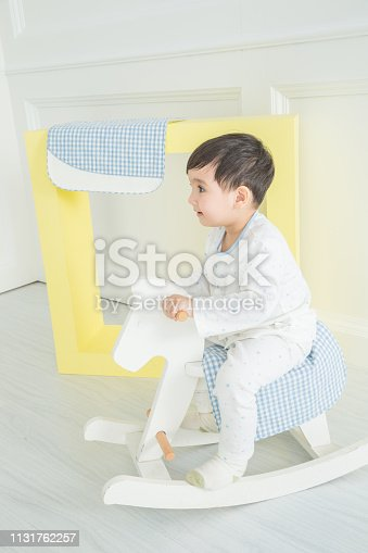 112301234 istock photo Baby boy playing with a rocking horse on grey background 1131762257