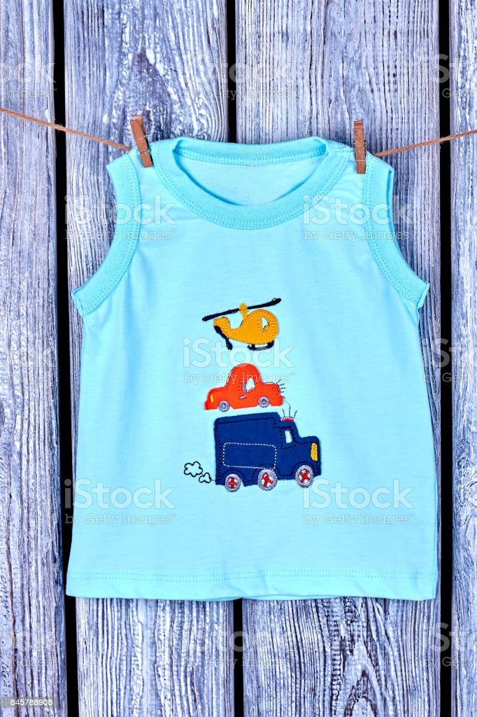 39690e482524 Baby Boy Printed Tshirt Hanging On Rope Stock Photo   More Pictures ...