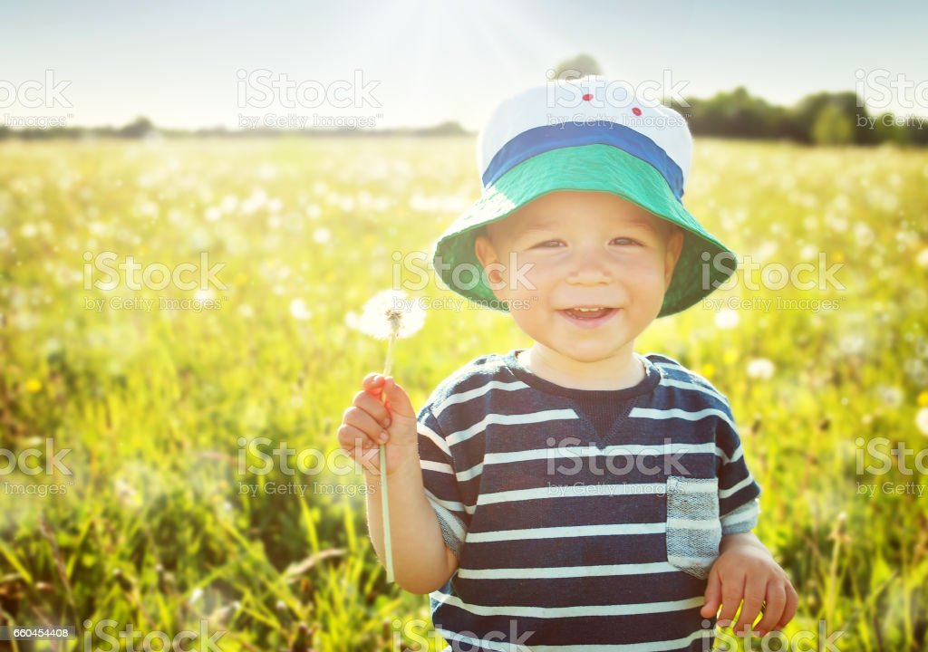 Baby boy sitting in grass on the fieald with dandelions stock photo