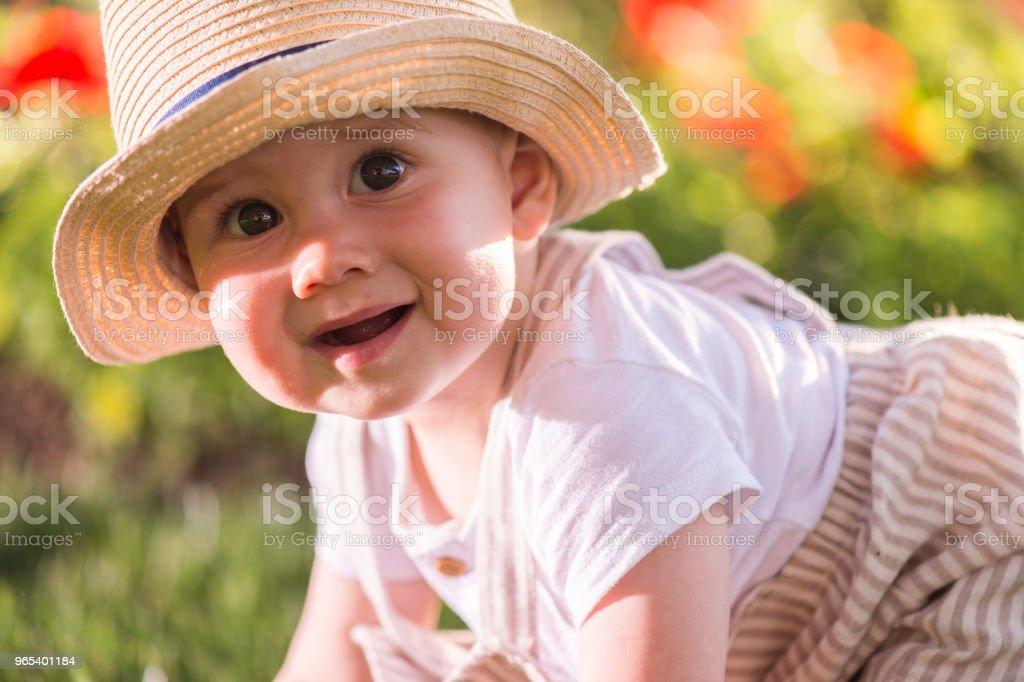 Baby boy sitting on the grass  watching flowers in the garden on beautiful spring day zbiór zdjęć royalty-free