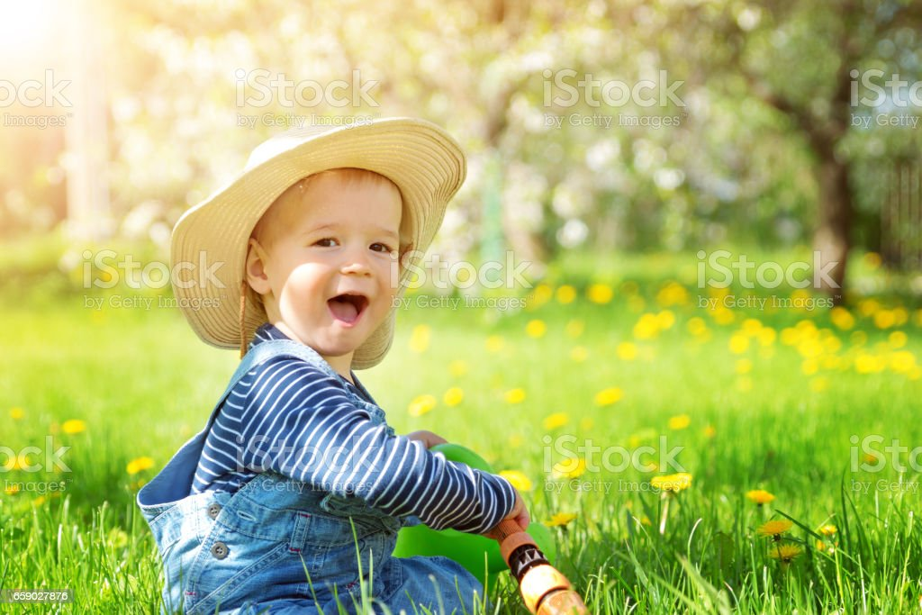 Baby boy sitting on the grass with dandelion flowers in the garden stock photo