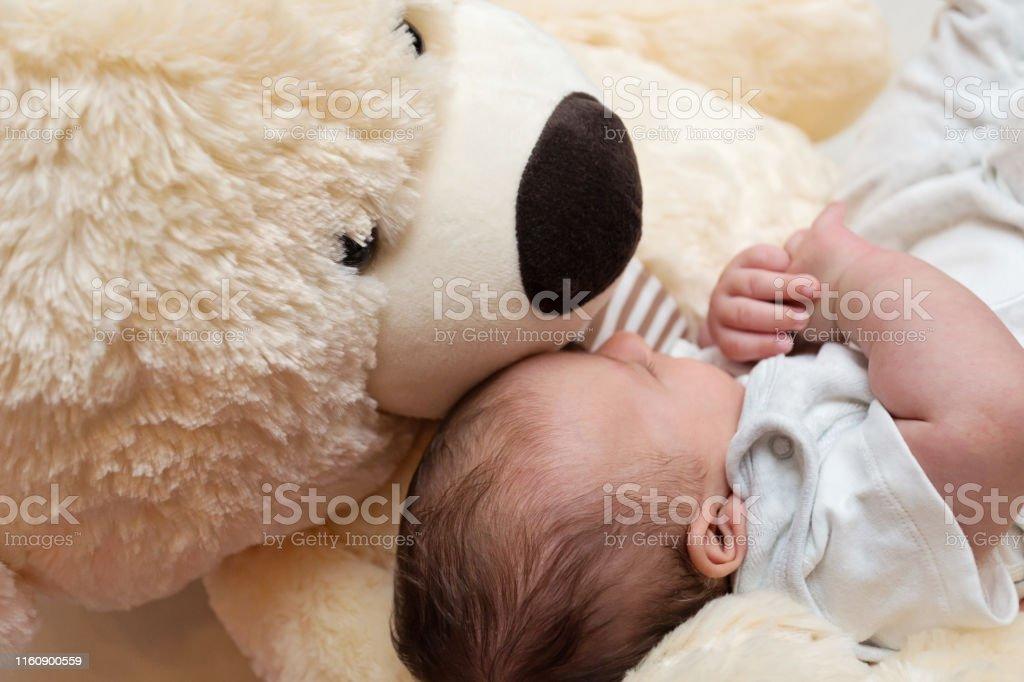 Peaceful newborn sleeping with giant fluffy teddy bear