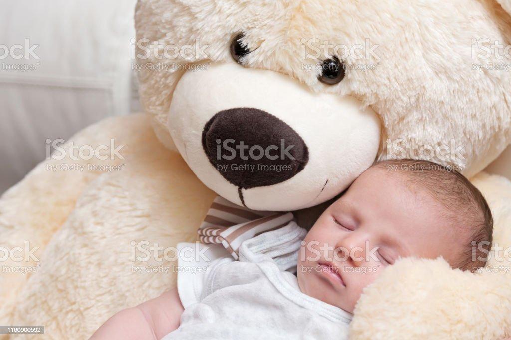 Hay Hay Chicken Stuffed Animal, Baby Boy Sleeping With Big Teddy Bear Stock Photo Download Image Now Istock