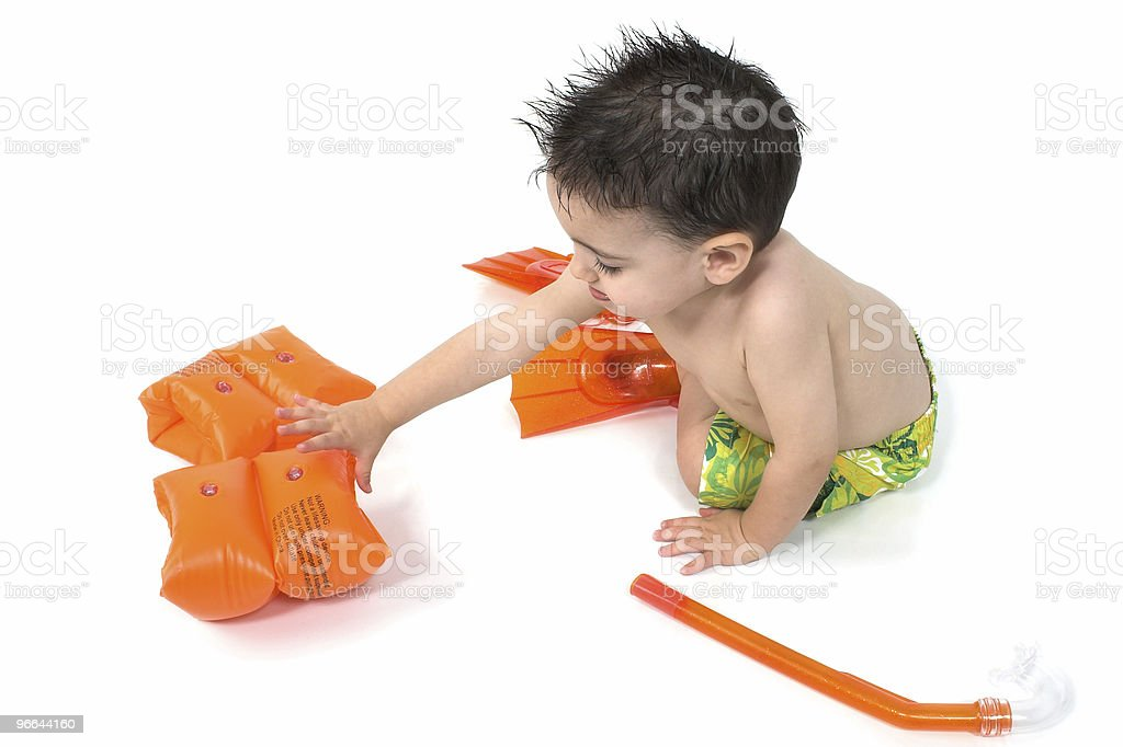 Baby Boy Snorkler Over White royalty-free stock photo