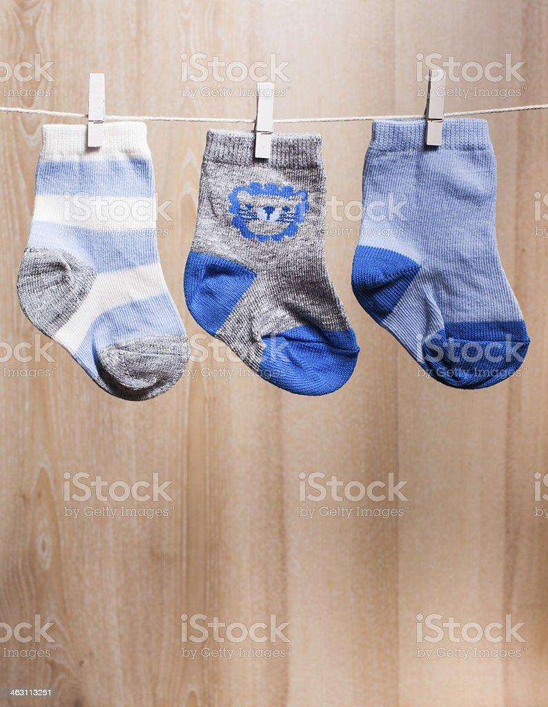 Baby boy socks stock photo