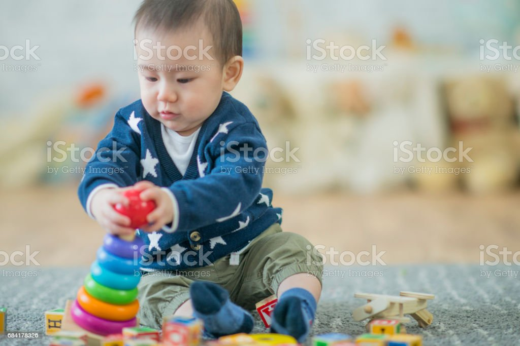 Baby Boy Stacking Rings royalty-free stock photo