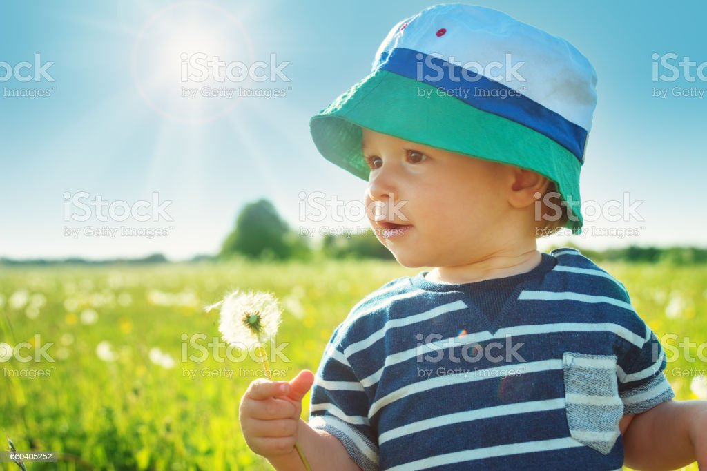 Baby boy standing in grass on the fieald with dandelions stock photo