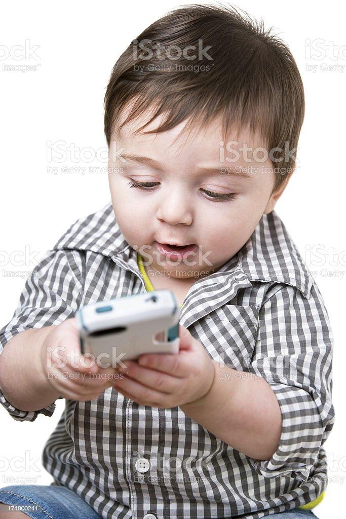 Baby boy texting royalty-free stock photo