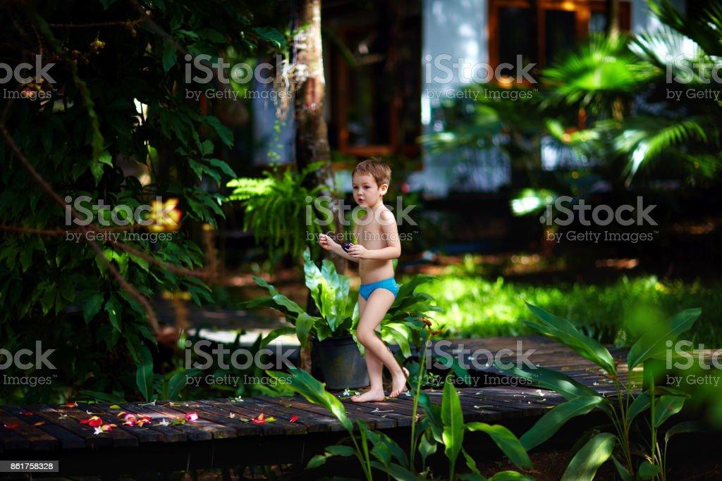 baby boy walking along wooden path in tropical garden stock photo