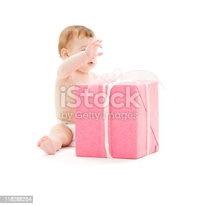 istock baby boy with big gift box 118288254