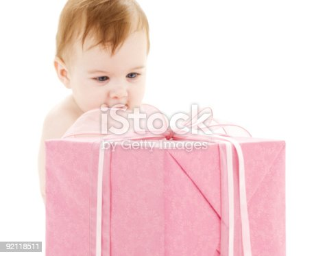 istock baby boy with big gift box 92118511