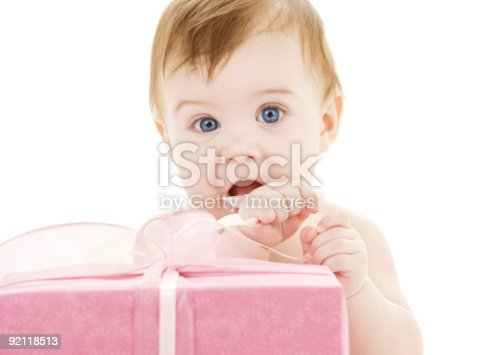 istock baby boy with big gift box 92118513