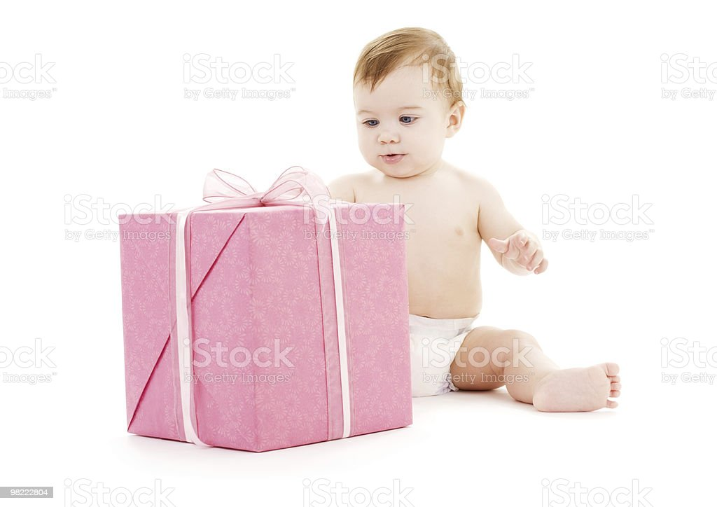 baby boy with big gift box royalty-free stock photo
