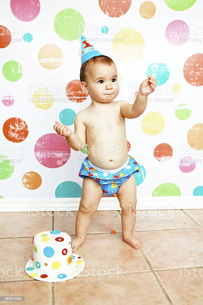 Outstanding Baby Boy With First Birthday Cake Stock Photo Download Image Now Personalised Birthday Cards Petedlily Jamesorg