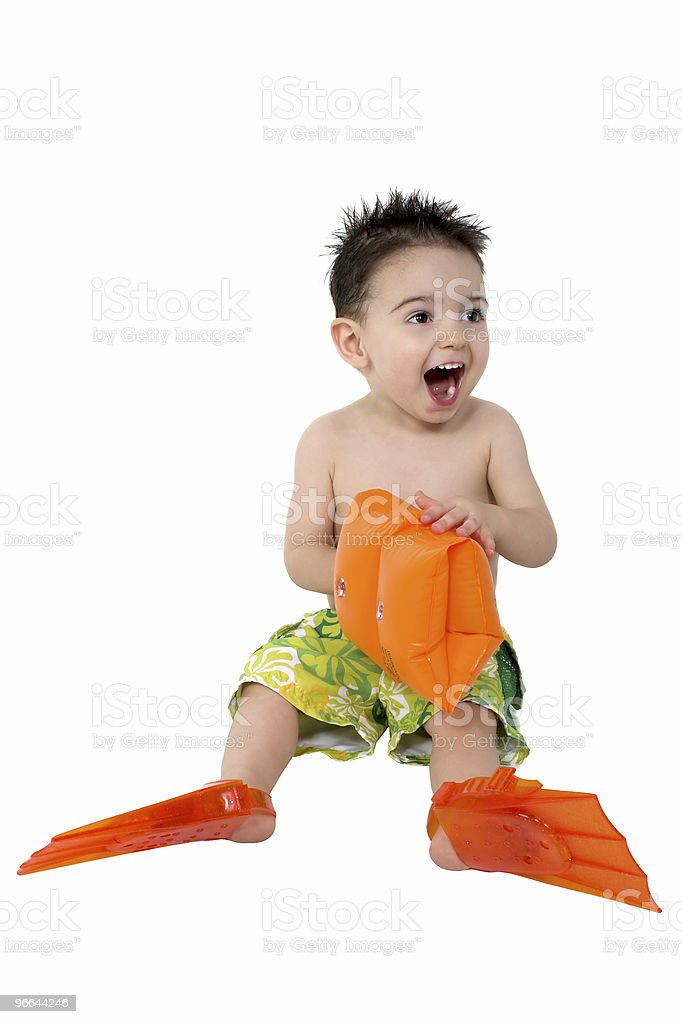 Baby Boy With Flippers And Water Wings royalty-free stock photo