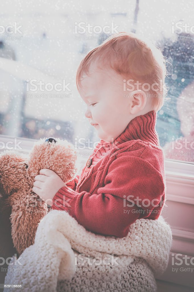 Baby Boy With Fluffy Dog Toy at Window in Winter