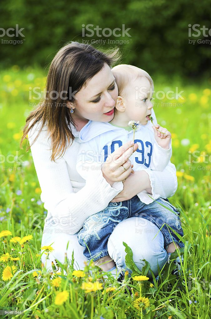 Baby boy with mother play royalty-free stock photo