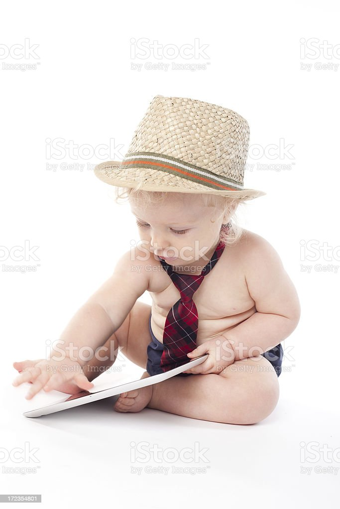 Baby boy with tablet royalty-free stock photo