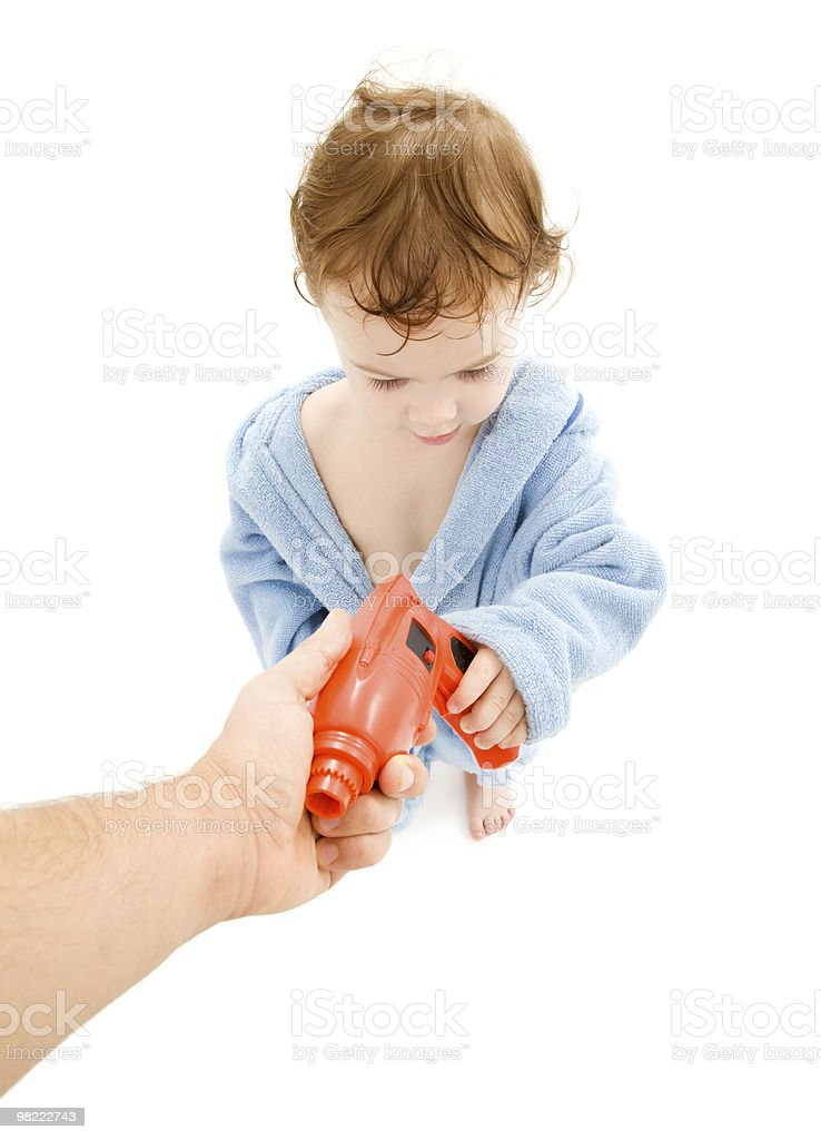 baby boy with toy drill royalty-free stock photo