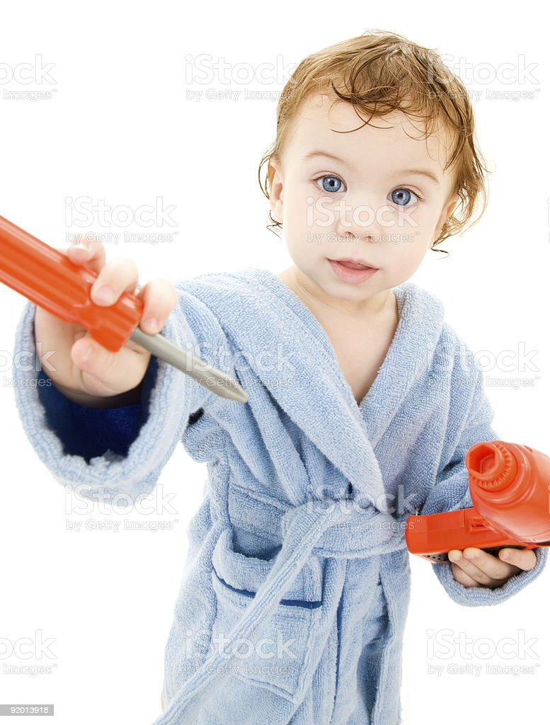 baby boy with toy tools royalty-free stock photo