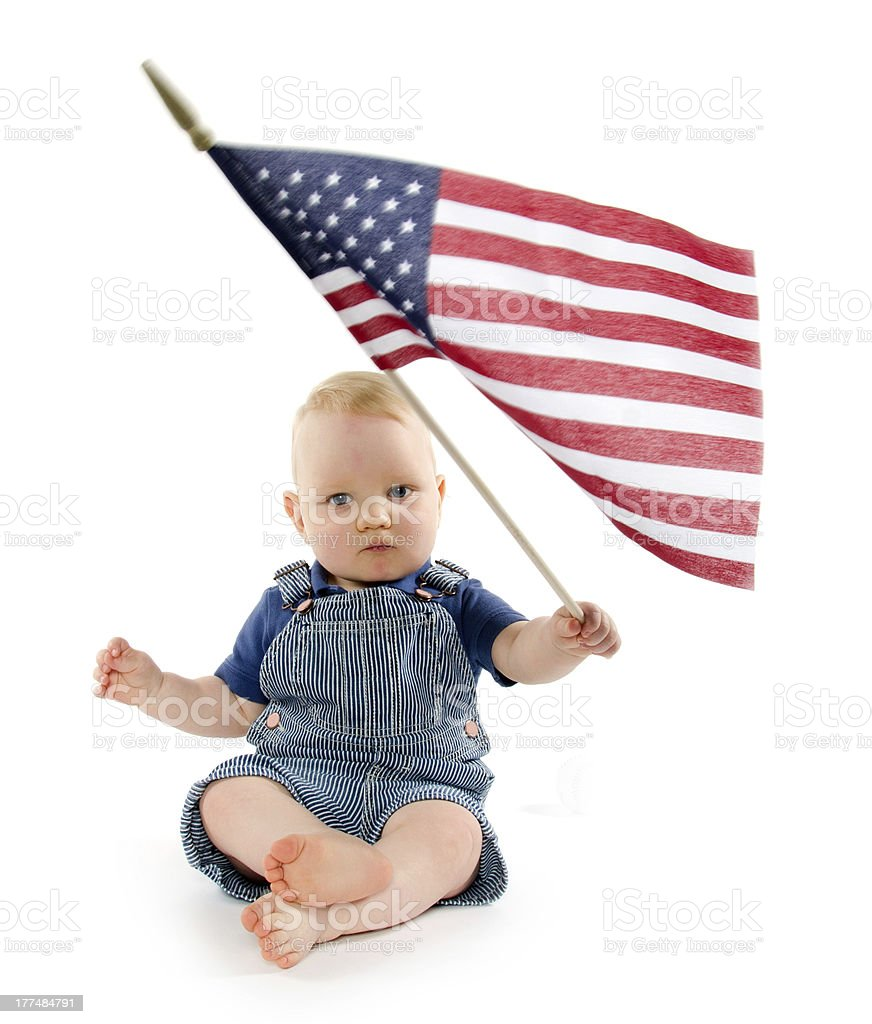 Baby boy with United States flag stock photo