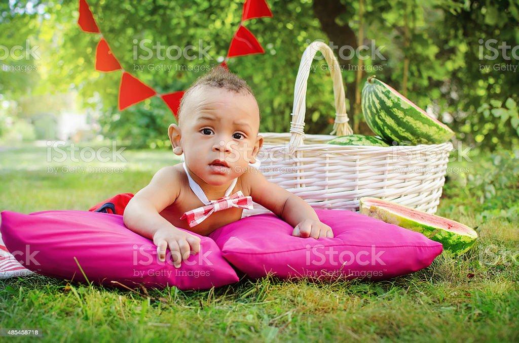 baby boy with watermelon stock photo