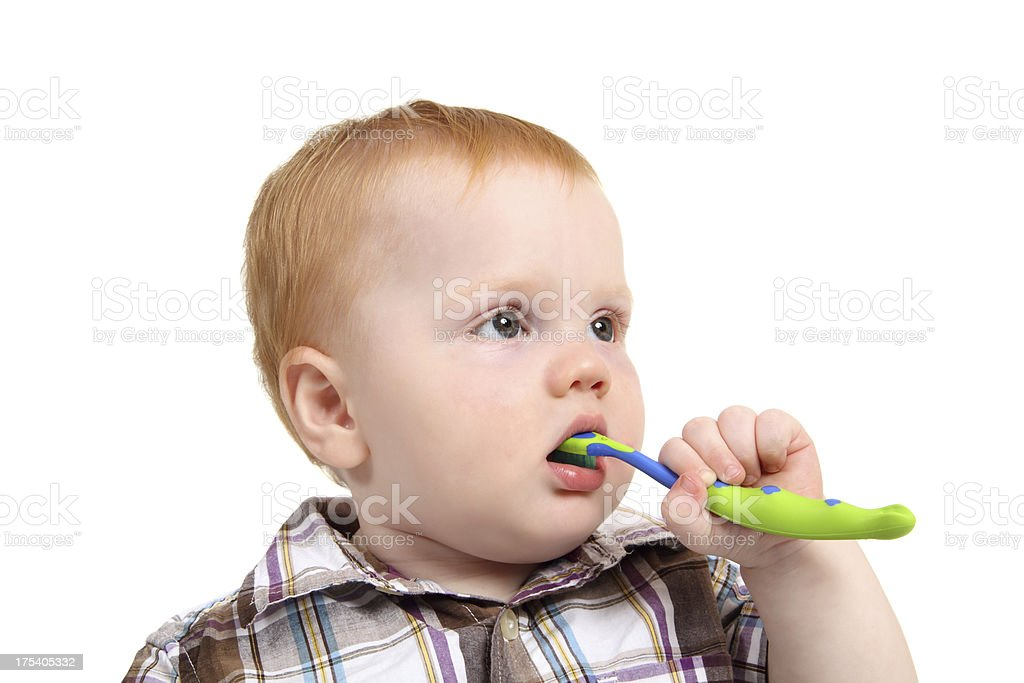 Baby Brushing Teeth royalty-free stock photo