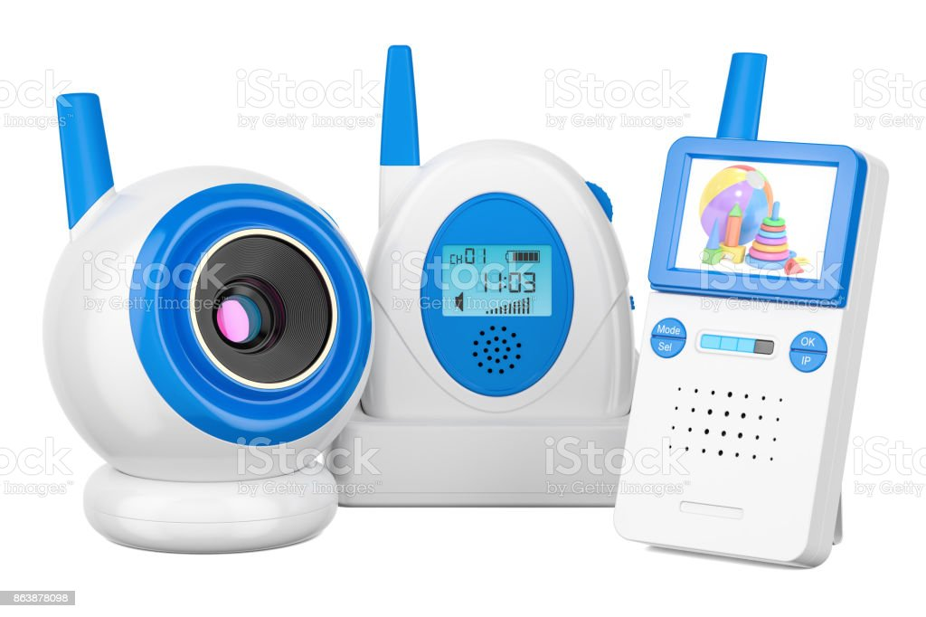 Baby cam and audio baby monitor, 3D rendering isolated on white background stock photo
