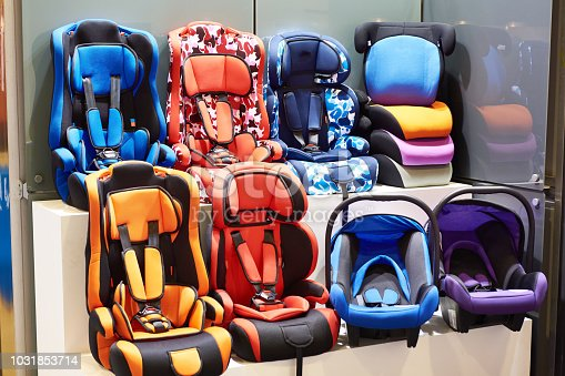istock Baby car seats in store 1031853714