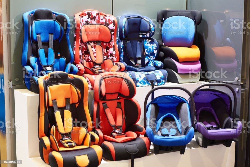 Baby car seats in store stock photo