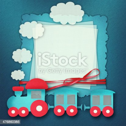 istock Baby card on blue background 476860385
